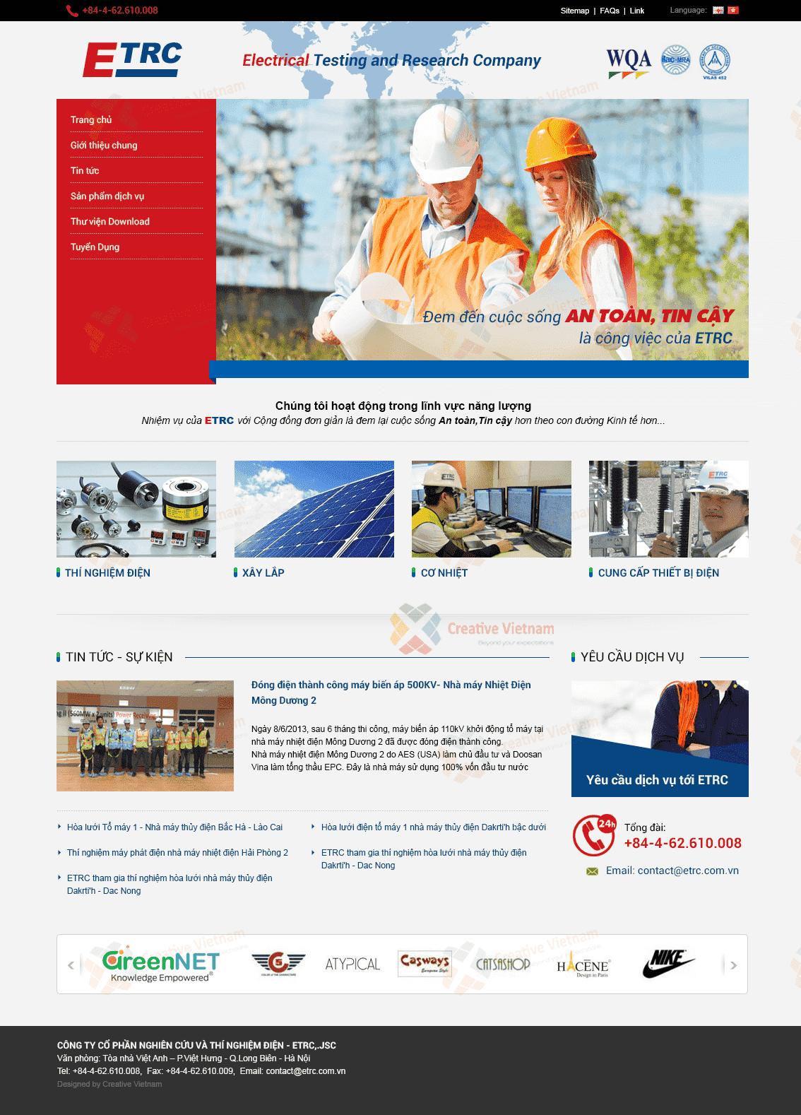 Web Công ty xây lắp điện ETRC